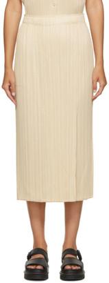 Pleats Please Issey Miyake Beige Pleated Mid-Length Skirt