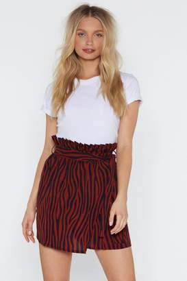 Nasty Gal Womens Herd So Much About You Zebra Paperbag Skirt - Navy - 6, Navy