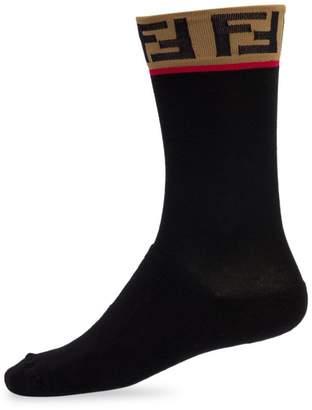 Fendi Double-F Logo Trim Socks