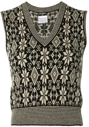 Chanel Pre Owned 2001 Knitted Snow Flake Vest