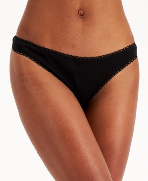 Charter Club Women's Lace-Trim Pretty Cotton Thong, Created for Macy's