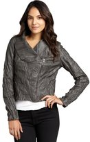 Romeo & Juliet Couture charcoal faux leather assymetrical chain jacket