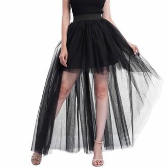 AOGOTO Women Plain Mesh Tulle Skirt High Split Hem Party Princess Long Maxi Skirt Chiffon High Waist Skirt Black Black