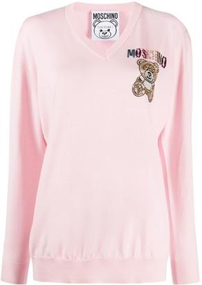 Moschino Teddy-embellished V-neck jumper