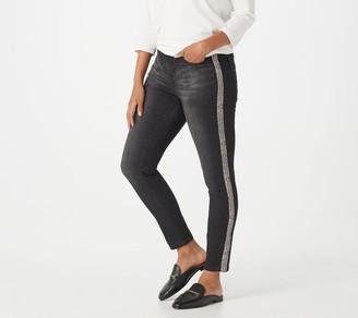 Lisa Rinna Collection Skinny Tuxedo Printed Stripe Black Jeans