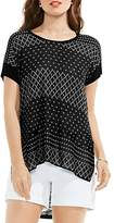 Vince Camuto Print Front Mixed Media Top