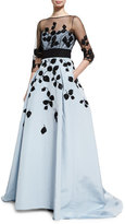Carolina Herrera Leaf-Embroidered Silk Faille Illusion Gown, Black/Blue