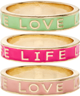 Accessorize 3x BFF Love Life Enamel Ring Set