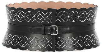 Alaia Studded wide leather belt