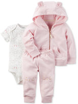 Carter's 3-Pc. Animal-Ears Hoodie, Bodysuit and Pants Set, Baby Girls (0-24 months)