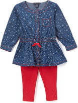 Tommy Hilfiger Blue & Red Dot Bow Tunic & Leggings - Infant & Toddler