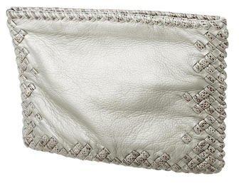 Bottega Veneta Snakeskin-Trimmed Intrecciato Clutch