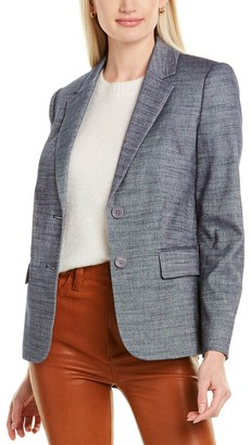 Rebecca Taylor Twill Linen-Blend Suit Jacket