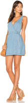 MinkPink Float Denim Wrap Mini Pinnie Dress