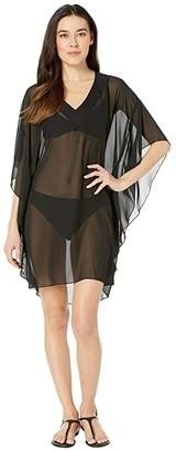 Maxine Of Hollywood Swimwear Solid Chiffon Caftan Cover-Up (Black) Women's Swimwear