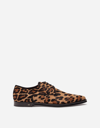 Dolce & Gabbana Leopard-Print Pony Hair Derby Shoes