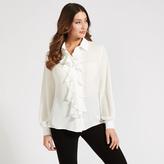 Apricot White Ruffle Front Shirt