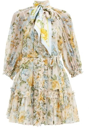 Zimmermann Lucky Bound Scarf-tie Floral-print Silk Dress - Blue Multi