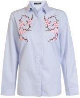 Quiz Blue Stripe Embroidered Flower Shirt