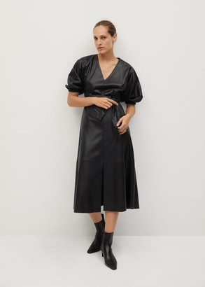 MANGO Puffed sleeves dress black - 2 - Women