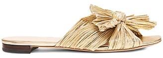 Loeffler Randall Daphne Flat Metallic Leather Sandals