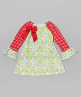 Flap Happy Green Bella Brocade Meadow Lily Dress - Infant, Toddler & Girls