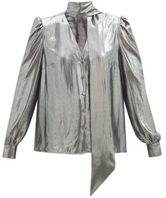 Racil Solange Tie-neck Lame Blouse - Silver