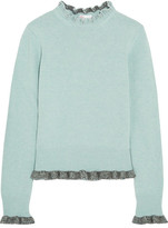 RED Valentino Ruffled Wool Sweater - Light blue