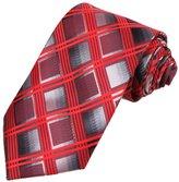 DAA7C13B Red Grey Checkered Microfiber Neck Tie Excellent Series Tie By Dan Smith