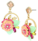 Betsey Johnson Tropical Flower Cluster Drop Statement Earrings