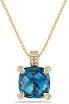 David Yurman Ch'telaine Pendant Necklace with Hampton Blue Topaz and Diamonds in 18K Gold