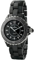 Peugeot Womens Crystal-Accent Black Ceramic Bracelet Watch