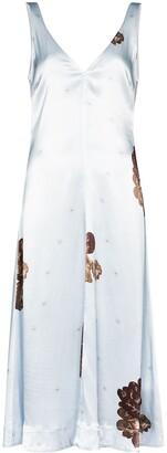 Ganni Floral Print Satin Dress