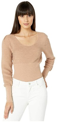BCBGMAXAZRIA Long Sleeve Cropped Sweater (Roebuck) Women's Clothing