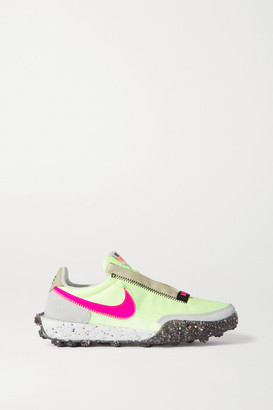 Nike Waffle Racer Crater Leather And Suede-trimmed Shell Sneakers - Bright yellow