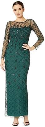 Adrianna Papell Beaded Long Column Gown (Dusty Emerald) Women's Dress