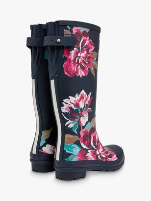 Joules Floral Print Waterproof Tall Wellington Boots, Navy