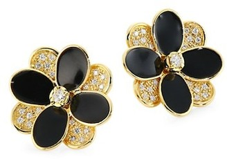 Marco Bicego Petali 18K Gold, Diamond & Black Enamel Hand Engraved Small Flower Stud Earrings