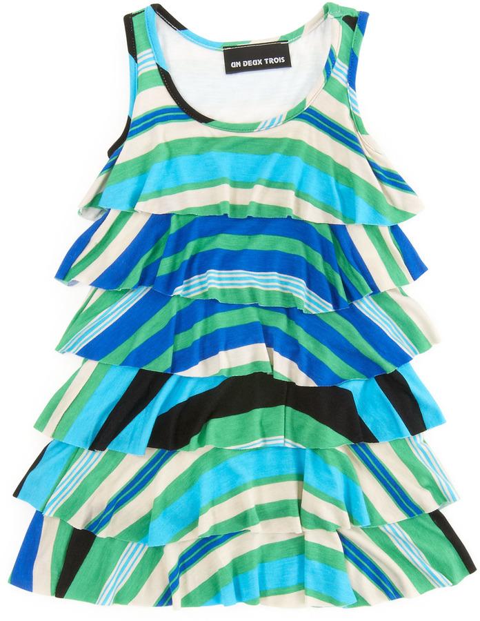 Un Deux Trois Tier Stripe Dress, Blue/Green, 4-6X