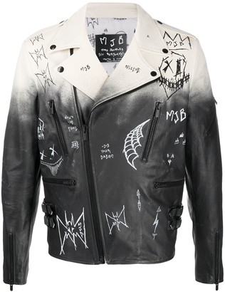 Mjb Marc Jacques Burton Ombre Graffiti Detail Leather Biker Jacket