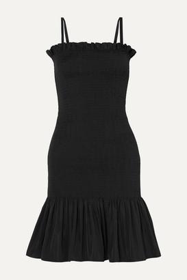 Molly Goddard Shirred Taffeta Mini Dress - Black