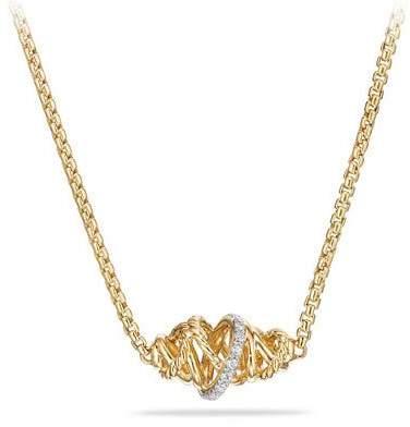 David Yurman Crossover 18K Pendant Necklace with Diamond