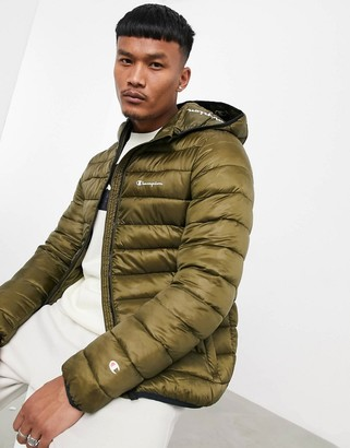 Champion padded jacket with hood in green camo