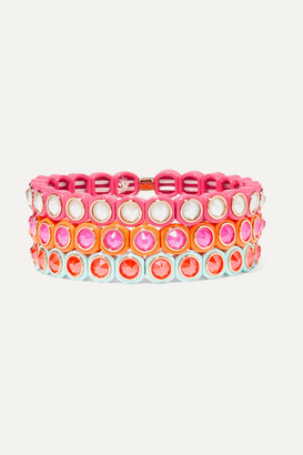 Roxanne Assoulin Mini Me Set Of Three Neon Enamel And Swarovski Crystal Bracelets - Pink