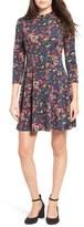 Lush Women's Floral Print Mock Neck Skater Dress