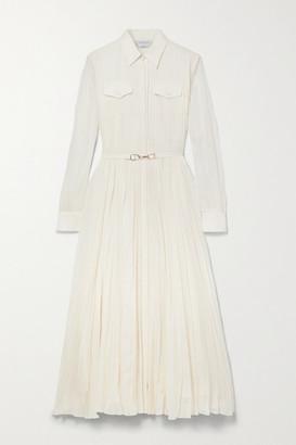 Gabriela Hearst Erella Belted Pleated Cotton And Silk-blend Shirt Dress - Ivory