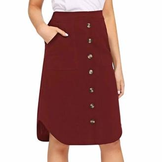 Celucke Womens Leopard Print Split Skirt Beach Ladies Pleated High Waisted Skirt Red