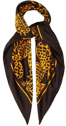 Gucci Pineapple-print Silk-twill Scarf - Yellow