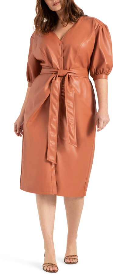 ELOQUII Puff Sleeve Faux Leather Midi Dress