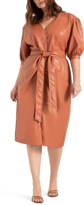 ELOQUII Puff Sleeve Faux Leather Midi Dress